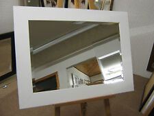 "NEW LARGE 3"" FLAT WHITE SOLID OAK FRAMED OVERMANTLE WALL MIRROR"