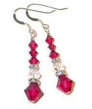 Long Dangle CLEAR AB & RUBY RED Earrings Handcrafted Swarovski Crystal Elements