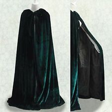 MEDIEVAL Green Hooded Cloak Velvet Cape Wedding Shawl Halloween Free Shipping