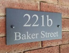 Personalised Natural Slate House Door Gate Number Sign Plaque Any Name 1 - 9999