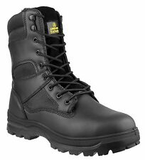 MENS POLICE ARMY COMBAT WORK BOOTS STEEL TOE CAP AND MID SOLE BLACK FAB105