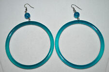 Wow! Awesome GiGaNtIc CIRCLE hoop DANGLE wire Post ACRYLIC EARRINGS Brand New