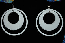 LG Acrylic DOUBLE CIRCLE dangling Costume Fashion pierced wire post earrings