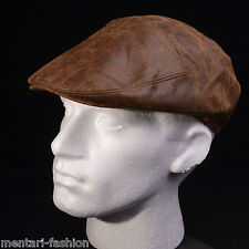 Mentari Hats Top Quality Leather Flat Cap Olive Black Brown Cool Mans Accessory
