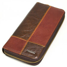 New Mens Vintage Leather Zip Around Business Checkbook Mens Long Wallet Purse