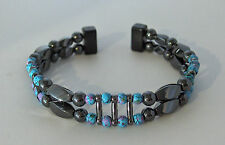 MAGNETIC  HEMATITE & PICASSO  BRACELET * Dbl Str Handpainted beads * Black Clasp