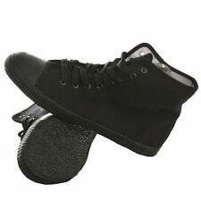 HI HIGH TOP PLIMSOLLS PLIMSOLES PLIMSOLS PUMPS BLACK LACE UP CANVAS FLATS