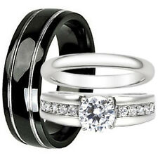 3pcs TITANIUM Mens Band and Womens STAINLESS STEEL CZ Wedding Ring SET NEW Black