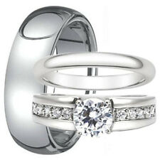 3 PC His Tungsten 8mm & Hers Stainless Steel CZ Wedding Band Engagement Ring Set