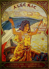 Marseilles Algeria Lady Boat 1906 Tourism Travel Vintage Poster Repo FREE S/H