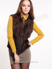 100% Real Knitted Mink Fur Vest Gilet Waistcoat Coat Spring Fashion Womens Zip