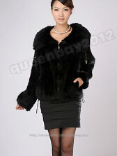 100% Real Knitted Mink Fur Coat Outwear Jacket Wearcoat Spring Zip Fashion Women