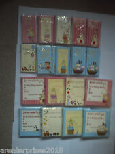 16 Boys/Girls Birthday Invitation Cards/Thank You Cards with Envelopes 8 designs