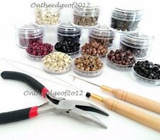 250 Feather Hair Extension TOOL KIT-Hair Silicone Micro BEADS Pliers Loop Hook