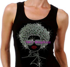 Lady with Afro - SILVER - Rhinestone Iron on Tank Top - Pick Size S-3XL - Shirt