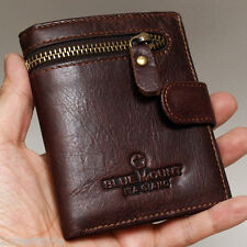 New Genuine Cowhide Leather Mens Wallet Purse ZIPPERED COIN POCKET