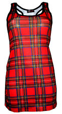NEW GIRLS / LADIES RED TARTAN PRINT LONG VEST TOP SUMMER DRESS GOTH PUNK EMO