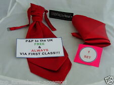 MENS Dark Red Polyester Wedding Ruche-Cravat & Hankie Set>More U Buy>More U Save