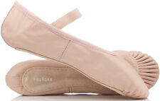 PINK Leather Ballet Shoes Child's & Adult's Sizes. Full Sole. Pre Sewn Elastics