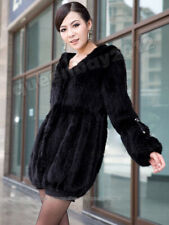 100% Real  Knitted Mink Fur Long Knit Coat Outwear Jacket Hoody Fashion Vintage