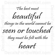 The Best Most Beautiful Things in the World Wall Decal Vinyl Quote Saying J24