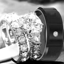 his and hers 3 pcs men's & women's STAINLESS STEEL & SILVER HEART wedding rings