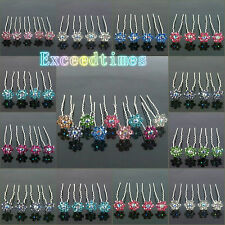 6 10 20pcs Clear Crystal Wedding Bridal Prom Flower Hair Pin Clips 12 Colors