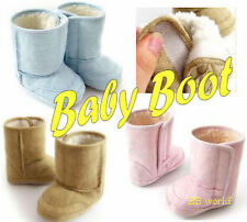 Infant Baby Winter Tan Pink Blue Boots Boy Girls Toddler Fur Snow Shoes BG01