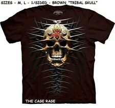 "TRIBAL SKULL - T-SHIRT - THE MOUNTAIN SKULBONE  - ""M,L"" - BROWN - 1/SIDED - NEW*"