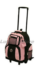 """18"""" Large Rolling Backpack Wheeled College Bookbag Travel Carry on (10 Colors)"""