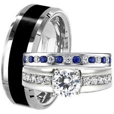 Black TUNGSTEN & STAINLESS STEEL His Hers Blue Sapphire CZ WEDDING BAND RING SET
