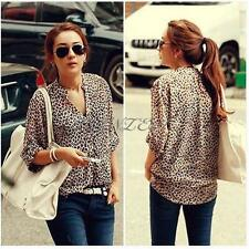 Sexy Women Leopard Chiffon Long Sleeve T Shirts Blouse Collar Tops US M L XL XXL