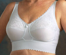 Nearly Me 610 White Wide Band Soft Cup Breast Form Pocket Mastectomy Bra 46-48
