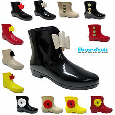 New Ladies Ankle Fashion Short Welly Wellington Boots Wellie Uk Size 3 4 5 6 7 8