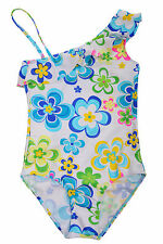 Elfindollkids Girls One Shoulder Overall Swimsuit in Blue/Red Size 7-12