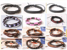 New Type wholesale lots Leather/PU/Cotton Bracelet Adjustable D01-12 Free