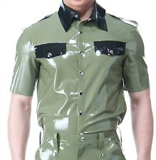 SQUEEZE.DOG Latex Gummi Rubber Police Polo Shirt Short Sleeve Army Olive Green