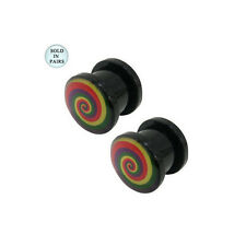Acrylic Double Flared Ear Plugs with Rainbow Spiral Logo - 10 Gauge  to 00G