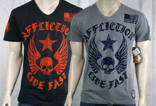 AFFLICTION Men's T-shirt LIVE FAST V-neck flocked silver black A6561