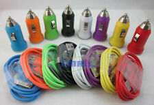 Colorful Mini Car Charger+USB Sync Data Cable Cord for iPhone 4 4G 4S iPod Touch