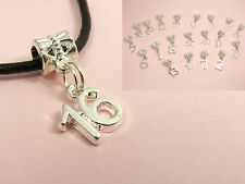 Silver Plated Number Age BIRTHDAY Dangle CHARM fit European Bracelet Necklace F