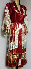 Chinese Red Women's Silk Robe Kimono Gown nighty clothes .one size