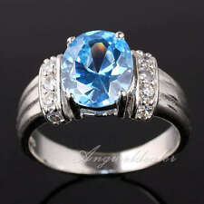 Lady Fashion .925 Sterling Silver Ring Oval Cut Stone Set Chic Jewelry