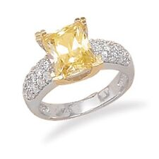 Rhodium Plated Sterling Silver 14K Gold Plate Ring with Yellow Rectangle CZ 925