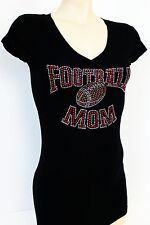 RED  RHINESTONE FOOTBALL MOM  JUNIOR  SHEER  V NECK S M L 1XL 2XL 3XL SHIRT NEW
