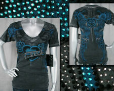 AFFLICTION Sinful women's PISMO V-neck winged heart roses T-shirt crystals S2549