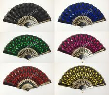 Foldable Peacock Shining Sequins Hand Fan Bead Black Fabric Decor US Seller