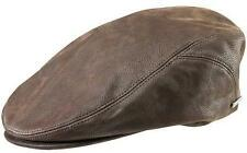 Stetson Quilcene Lambskin Flat Cap - Genuine 100% Lambskin - Brown or Tan
