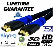 GOLD PLATED HDMI 1.4v CABLE LEAD for HD 3D TV SKY XBOX PS3/4 1M 2M & 5M 2 METRE