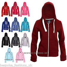 NEW WOMEN'S PLAIN FLEECE HOODIE,LADIES SWEATSHIRT ZIP UP JACKET TOP SIZE 8-20